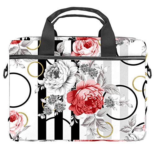 Safflower Gray White Flower Laptop and Tablet Bag up to 14.5 Inch Waterproof Fabric Shoulder Bag MacBook