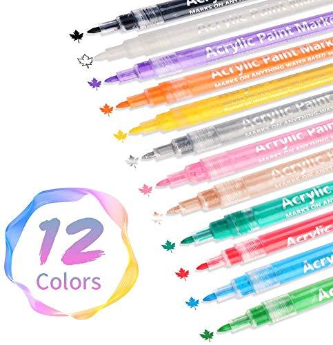 Acrylstifte Marker Stifte, KARLOR 0,7mm 12 Farben Wasserfest Acrylfarben Marker Set Filzstift Bemalen für Steine Keramik Glas Holz Leinwand Fotoalbum