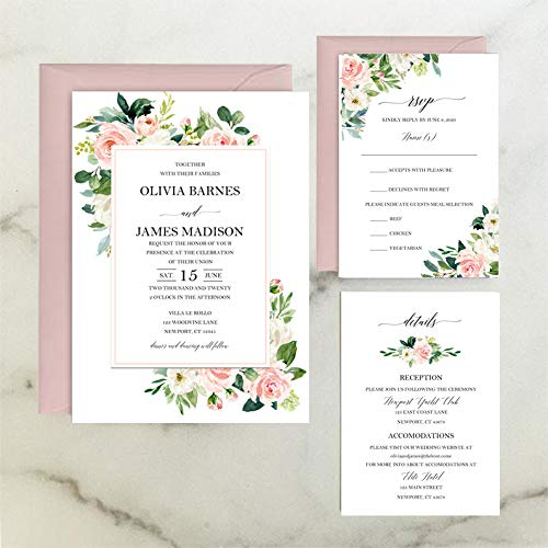 Amazon Com Blush Floral Wedding Invitation Suite With Any Wording Printed Elegant Blush Floral Collection Handmade