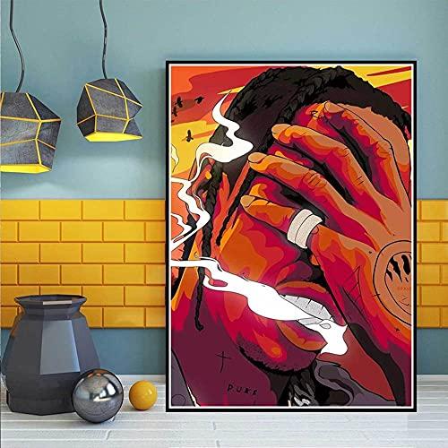 ZHXXFD Pintar Por Numeros Adultos Niños Cantante De Música Rap Cuadros Para Pintar Por Numeros Paisajes Animales Diy Paint By Numbers Kits 40X50CM(A40)