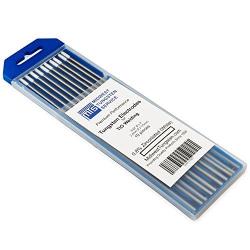 TIG Welding Tungsten Electrodes 0.8% Zirconiated (White, WZ8) 10-Pack (3/32