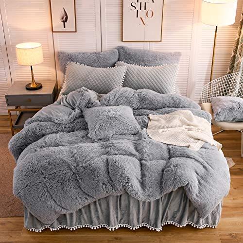 LIFEREVO Luxury Plush Shaggy Duvet Cover Set (1 Faux Fur Duvet Cover + 2 Pompoms Fringe Pillow Shams) Solid, Zipper Closure (Queen Gray)
