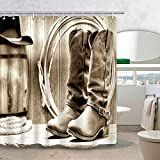 DYNH Western Shower Curtain, American Traditional Style Sports Team Cowboy Saddle Wood Ranch Barn, Polyester Fabric Bathroom Decor, Bath Curtains Accessories, with Hooks, 69X70 Inches