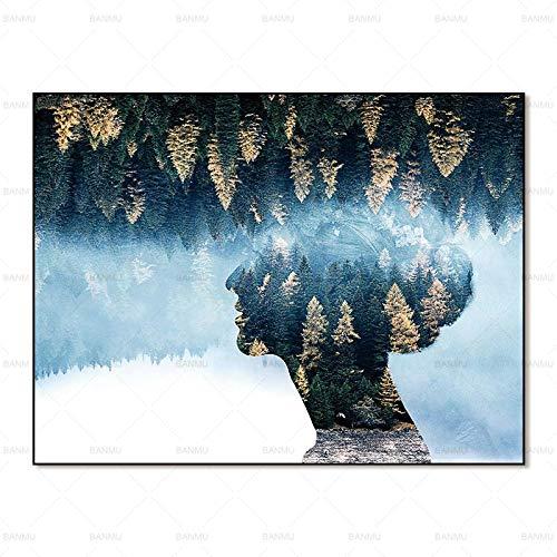 Moderne abstrakte Kunst Wald Hintergrund Charakter Umriss Bild Leinwand Malerei 40X60cm