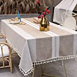 TEWENE Table Cloth, Rectangle Table Cloths Wrinkle Free Tablecloth Cotton Linen Tablecloths Stitching Tassle Tablecloth Brown for Kitchen, Dining, Outdoor Table(55''x102''/8-10 Seats/Brown)
