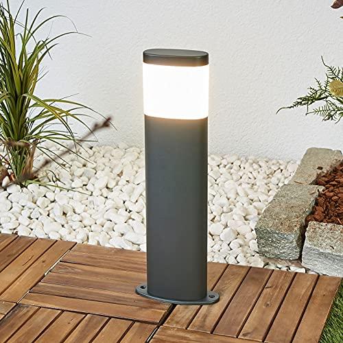 Lindby LED Außenleuchte 'Marius' (spritzwassergeschützt) (Modern) in Alu aus Edelstahl (1 flammig, A+, inkl. Leuchtmittel) - Wegeleuchte, Pollerleuchte, Wegelampe, Sockelleuchte