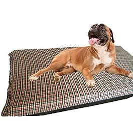 KosiPet® Large Deluxe High Density Foam Mattress Waterproof Dog Bed Beds Beige Check Fleece