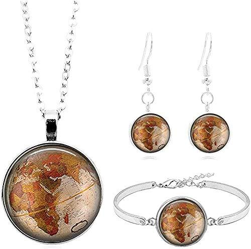 Ahuyongqing Co.,ltd Collar Vintage Earth Map Art Photo Cabujón Juego de Joyas de Cristal Collar de Moda de Plata Pulsera Pendiente Conjuntos de Joyas para Mujeres Regalos