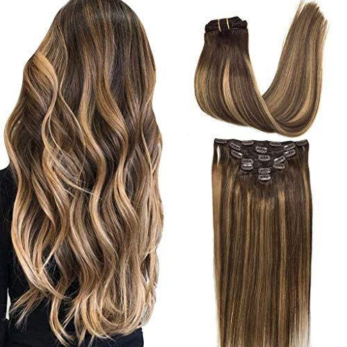 GOO GOO Clip in Human Hair Extensions Remy Ombre Chocolate Brown to Caramel Blonde Balayage Hair Extensions Clip in Straight Real Hair Extensions Natural Hair 7pcs 120g 18 inch