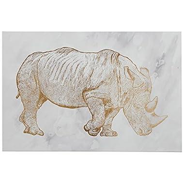 Rivet Canvas Print of Gold Rhinoceros, 15  x 10