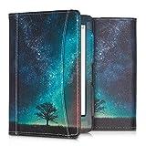 kwmobile Tolino Shine 3 Hülle - Vorderfach Handschlaufe - Galaxie Baum Wiese Design Blau Grau Schwarz