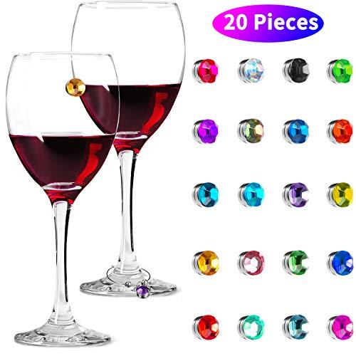 20 Stück Kristall Magnetic Glas Charme Magnetic Trinken Marker Bunte Wein Trinken Glas Charms für Becherglas Champagner Flöten Cocktails, Martinis