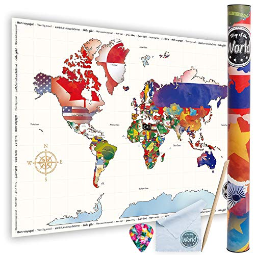 Scratch-Off World Travel Map Poster - Large Size colorful Travel Map Poster Detailed Cartography Dazzling Colors Highlight & Preserve Your Best Travelling Memories