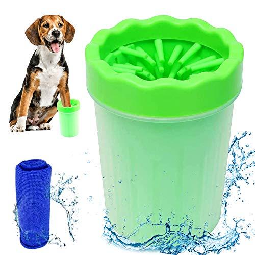 Cepillo Portátil de Limpieza de Mascotas, Lavadora de Pies de Perro, Cepillo de Limpieza para Patas de Perro, Taza de Limpieza para Mascotas, para Limpiar las Garras Sucias del Perro (Verde)