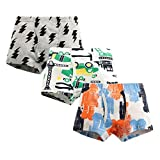 MIMY Boys Soft Cotton Boxer Briefs Toddler Kids Baby Underwear Dinosaur Truck Training Panty 3 Pack 3-10Y Pink
