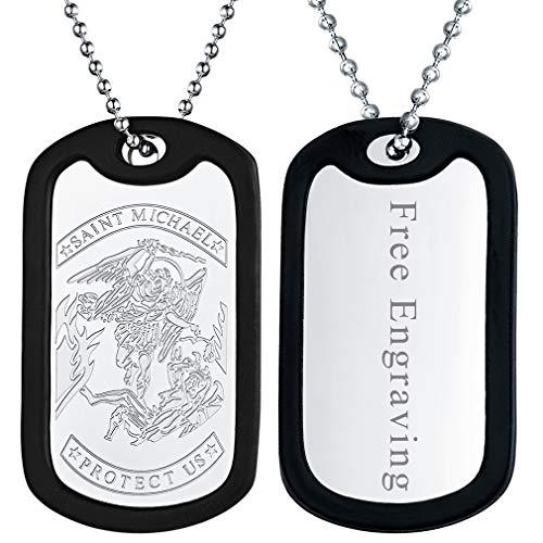FaithHeart Placa Militar Personalizada San Miguel Arcángel Acero Inoxidable Silicona Talismán de Protección para Hombres Soldados Color Plateado