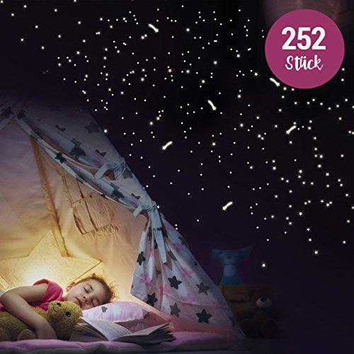 Wandkings - Adesivi da parete fluorescenti al buio, 250 stelle e stelle cadenti per un cielo stellato