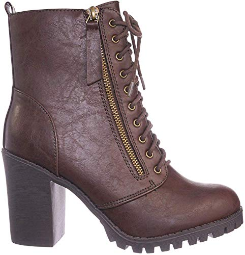 SODA Women's Malia Faux Leather Lace Up High Chunky Heel Ankle Booties (10, Brown M)