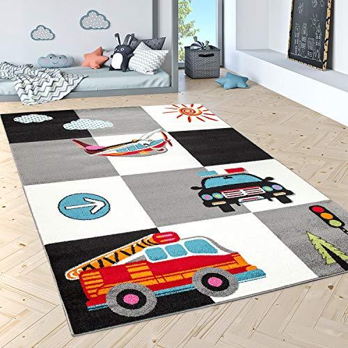 Kinderteppich Spielteppich Polizei Feuerwehr Flugzeug Karo Creme Grau Schwarz, Grösse:80x150 cm