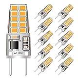 G8 LED Bulb Mini 3W Equivalent to G8 Halogen Bulb 20W-25W Dimmable G8 Light Bulb Warm White 3000K, T4 JCD Type Bi-Pin G8 Base, AC 110V/120V/130V (10 Pack)