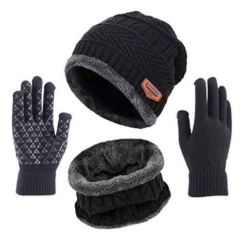 TMEOG Mütze Schal Handschuh Sets, Wintermütze Herren Damen Mütze Touchscreen Handschuhe Beanie Warme Mütze Strickmütze Winterschal Herren mit Fleecefutter (B_Schwarz)