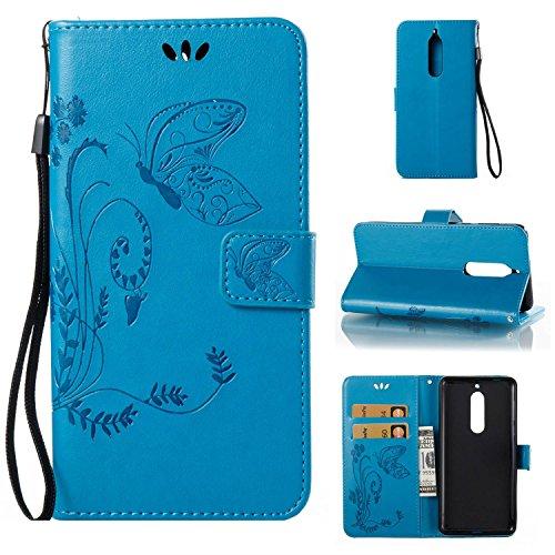 pinlu Flip Cover per Nokia 5 Alta qualità Portafoglio in Artificiale Pelle Colorata Luminoso Coperture Eleganti del Telefono Farfalla Erba Blu