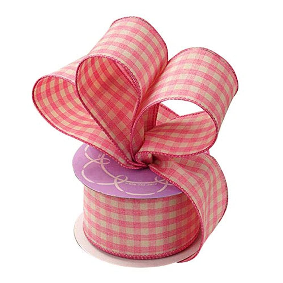 Pink Gingham Wired Edge Ribbon - 2 1/2 Inch x 10 Yards, Wedding Decor, Valentine's Day, Easter, Anniversary, Gift Wrapping, Farmhouse Country Plaid, Gift Bow, Mother's Day.