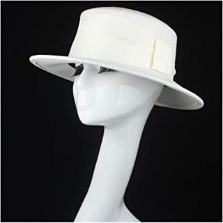SHENTIANWEI 100% Wool Authentic White Women Flat Top Hat with Ribbon Fedora Hat for Elegant Lady Wide Brim Hat Fascinator Size 56-58CM