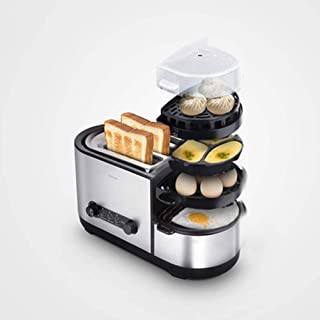 Toasters, 5-in-1 Toaster Egg Maker with Frying Pan Steamer Egg Boiler 7 Modes to Manage Crumb Tray Home Breakfast Machine