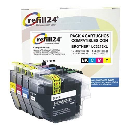 refill24 LC3219XL Cartuchos de Tinta Reemplazo para Brother LC3219 LC 3219 XL Tinta Compatible con Brother MFC-J5330DW J5335DW J5730DW J5930DW J6530DW J6930DW J6935DW (Negro/Cian/Magenta/Amarillo)