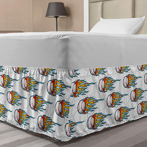 Lunarable Baseball Elastic Bed Skirt, Continuous Flying Balls with Classic Flame Design Sports Fans Themed Pattern, Wrap Around Fabric Bedskirt Dust Ruffle for Bedroom, Full, Multicolor