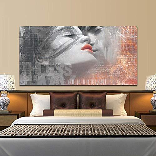Lcgbw schilderijen, canvas, wand, kunstdruk, modulair, 1 paneel, graffiti, abstract, liefhebbers, kus, home decoratie voor woonkamer 30x60cm Toile
