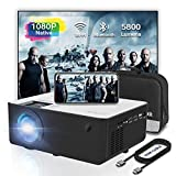 Mini 1080P HD Projector, Bluetooth Projector, WiFi Projector Compatible with Fire Stick/Roku, 5800 Lumen 200' Support HDMI, VGA, Android/ iPhone/ Laptops Portable for Home Movie Outdoor【2020 Upgrade】