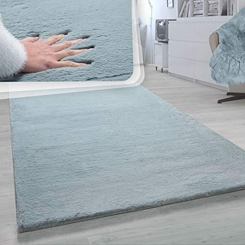Paco Home Hochflor-Teppich, Shaggy-Teppich Für Wohnzimmer, Weich Einfarbig, in Türkis, Grösse:80x150 cm