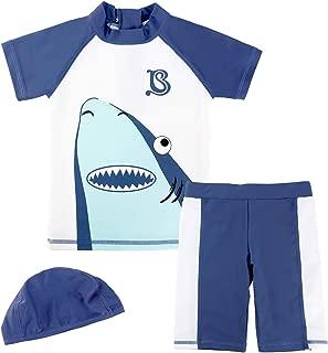 Gogokids Boys' 3 Pieces Swimsuits Swim Trunks T-Shirt Blue Swimwear 1-4 Years