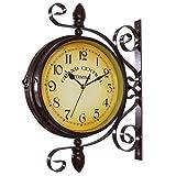SEESEE.U Reloj de Pared, silencioso, sin marcar, números arábigos Vintage, Relojes de Pared Redondos/Ojo de Buey de latón Pulido, decoración para Colgar en la Pared, para Sala de Estar, Cocina