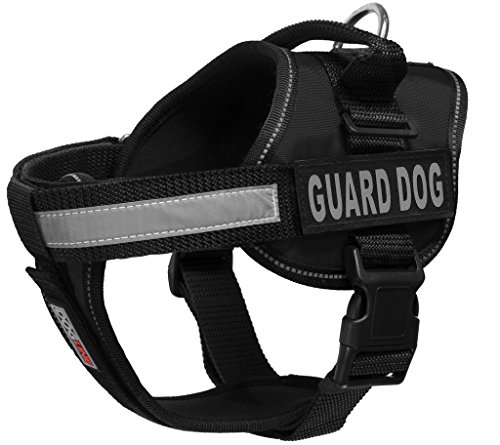 Dogline Unimax Multi-Purpose Vest Harness for Dogs and 2 Removable Guard Dog Patches, Medium, Black
