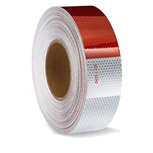 """Reflective Tape for Car, Truck, Trailer — Premium Warning Sticker 2"""" X 164FT DOT-C2 Waterproof Ultra Reflective Strong Adhesive Durable High Intensity Grade Conspicuity Safety Caution - Red & White"""