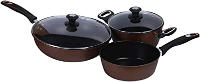 Pans Set, Purple Sand Nonstick Less Oil Smoke Cookware Set,Household Kitchen Outdoor Cooking Set