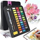 YUHENGLE Juego de Pintura de Acuarela, 36 Colores premium Pigmento sólido, Con Papeles de Acuarela de 8 Artistas, 3 Brocha, Kit de Pintura de Acuarela Profesional Perfecto Para Niños, Artistas