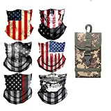 ArcHome 6PCS Riding Mask/Neck Gaiters/American Flag Face Mask/Bandana Face mask/Skull Face Mask/Fishing mask, Plus 1 PC Fishing Bag