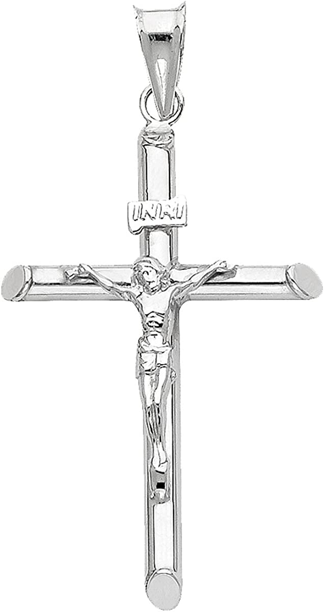 Direct sale of manufacturer 14K White Gold Crucifix Cross Charm Jesus New York Mall Engraved Pendant Cro -