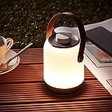 Kabellose LED Akku Outdoor Tischleuchte, dimmbar, mit USB Anschluss, IP44 Schutz (Spritzwasser), 120 Lumen, 3000 Kelvin aus Kunststoff, in weiß/brau