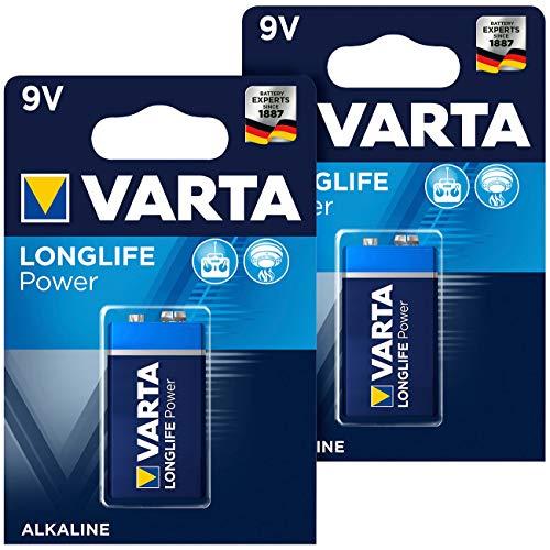Varta Longlife Power Batterie, Typ 9V/E-Block / 6LR3146, 9 Volt 2er-Set