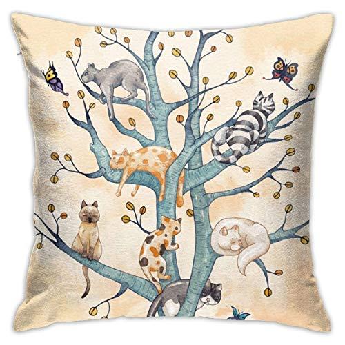Hdadwy El árbol de la Vida del Gato Almohada de Piso Funda de Almohada Cuadrada Throw Pillow Edredón Manta Cojín de sofá Cojín de Coche Decoración (45cmx45cm)