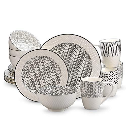 Juego de vajilla de porcelana de 16 piezas, juego de combinación de cerámica duradera pintada a mano con plato de cena, plato de postre, tazón y taza de cereal, patrón clásico para 4, gris y blanco