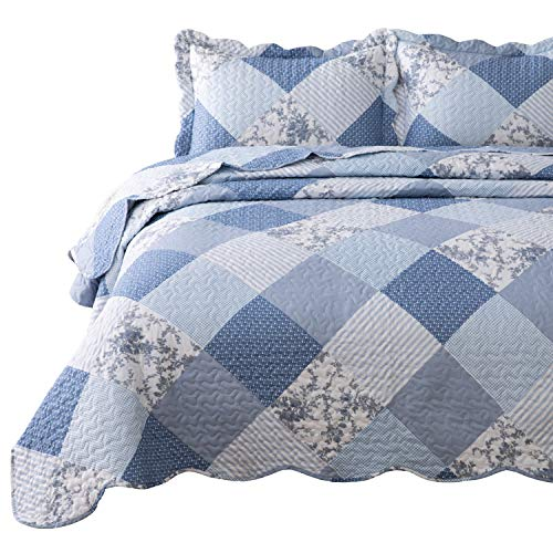 Bedsure 2-Piece Printed Quilt Set Twin Size (68x86 inches), Blue Floral Patchwork Pattern, Lightweight Bedspread Coverlet Design for All Season, 1 Quilt and 1 Pillow Sham