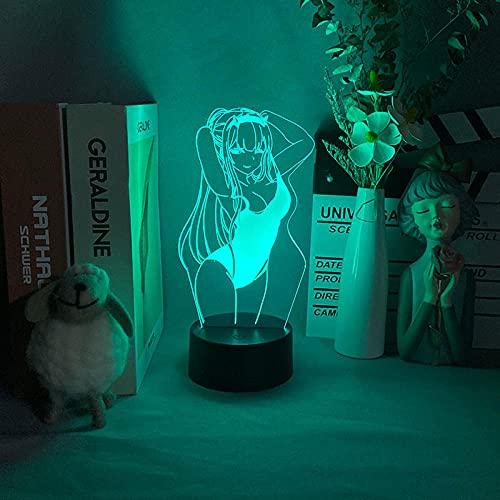 3D Led Luce notturna Illusion Lampada da scrivania Sexy Miku Costume da bagno per la decorazione della camera da letto Darling In The Franxx-16 Colors With Remote