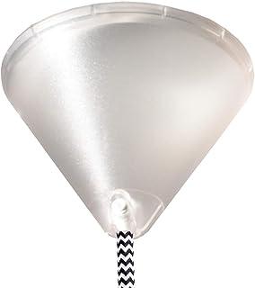 Baldaquino transparente plástico Ø 110 mm con tornillo de bloqueo para cable de lámpara, lámpara de techo transparente con forma de cono
