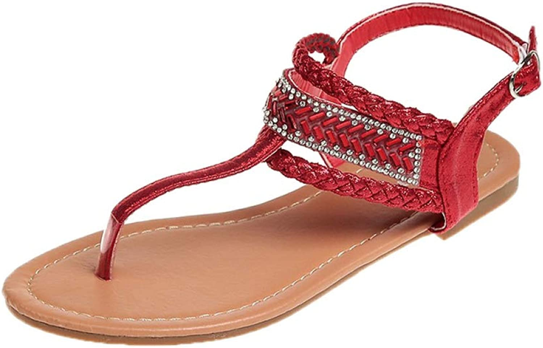 JOYBI Women Fashion Flat Sandals Summer Casual Slip On Ankle Strap Buckle Bling Comfort Clip Toe Sandal shoes